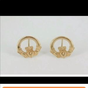 14k Yellow Gold Celtic Claddagh Earrings